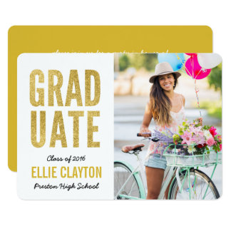 Modern Gold Photo Graduation Party Invitation