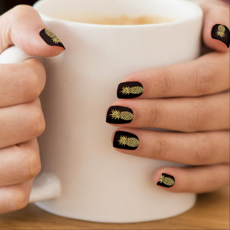 Modern Gold Pineapple Elegant Black Minx Nail Art