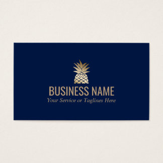 Modern Gold Pineapple Logo Elegant Midnight Blue Business Card