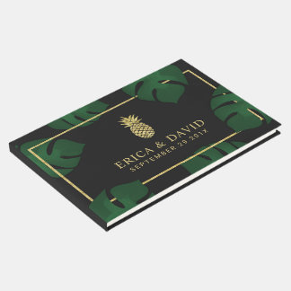 Modern Gold Pineapple Tropical Wedding Guest Book