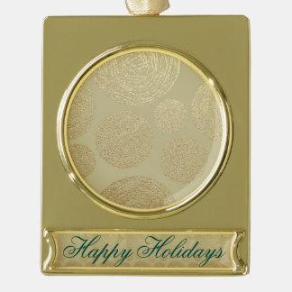 modern, gold,polka dots, metallic,elegant,chic,han gold plated banner ornament