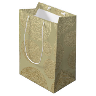 modern, gold,polka dots, metallic,elegant,chic,han medium gift bag