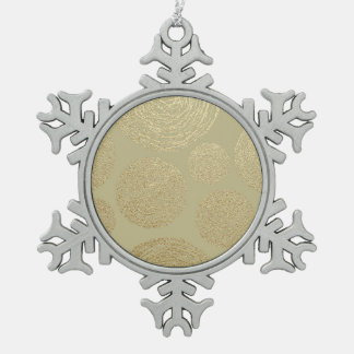 modern, gold,polka dots, metallic,elegant,chic,han snowflake pewter christmas ornament