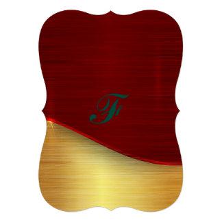 Modern,gold,red,metallic,trendy,abstract,pattern, 13 Cm X 18 Cm Invitation Card