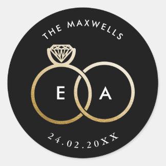 Modern Gold Rings on Black Custom Wedding Sticker