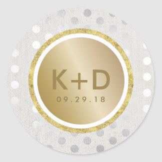 Modern Gold & Silver Dots Wedding Favor Round Sticker