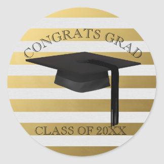 Modern Gold Stripe Graduation Cap Sticker