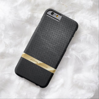 Modern Gold Striped Dark Leather iPhone 6 Case