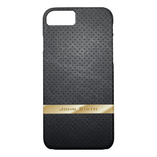 Modern Gold Striped Dark Leather iPhone 7 Case