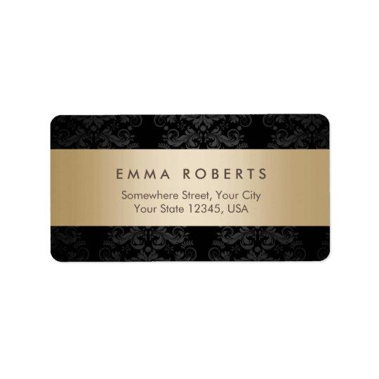 Modern Gold Striped Elegant Black Damask Address Label