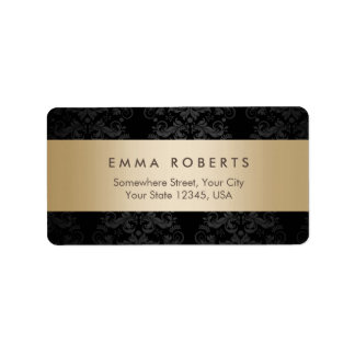 Modern Gold Striped Elegant Black Damask Label