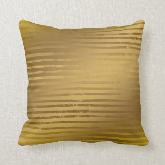 Modern Gold Stripes Grunge Faux Metallic Cushion
