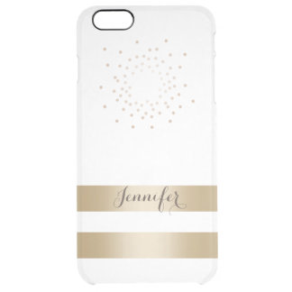 Modern Gold Stripes with Name Elegant Clear iPhone 6 Plus Case