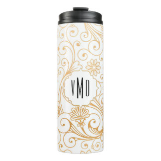 Modern Gold Swirl monogram Thermal Tumbler