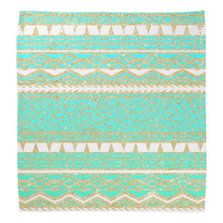 Modern gold turquoise teal ombre aztec pattern bandanna