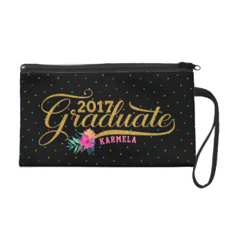 Modern Gold Typography Graduate Colorful Dots Wristlets