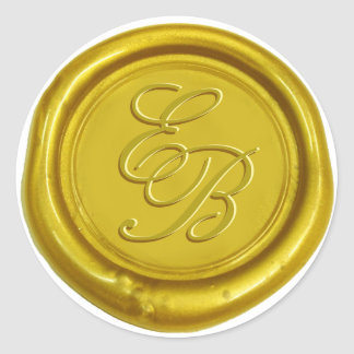 Modern Gold Wax Monogram Elegant Wedding Round Sticker