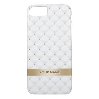 Modern Gold & White Quilted Pattern Custom Name iPhone 8/7 Case