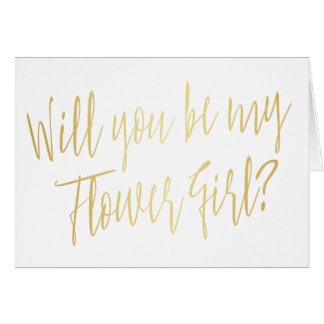 "Modern Gold ""Will you be my flower girl"" Card"