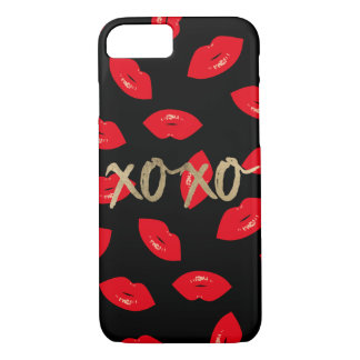 Modern Gold XOXO Red Lips Pattern Black iPhone 8/7 Case