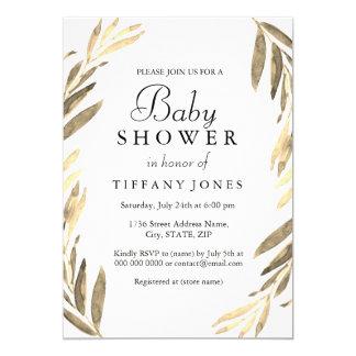 Modern Golden Leaf girl or boy Baby Shower Invite