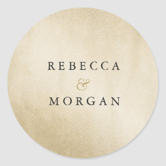 Modern Golden Wedding Couple Name Sticker