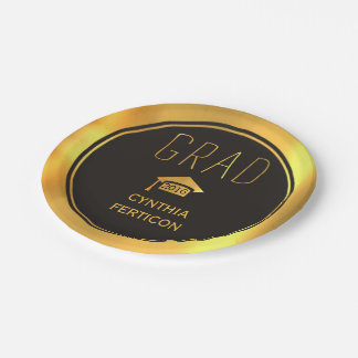 Modern Grad 2016 black, gold graduation cap Paper Plate