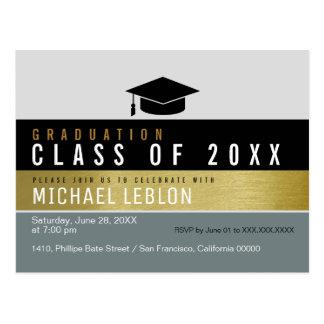 modern grad invitation postcard