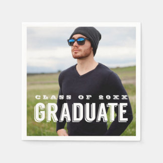 Modern Grad Photo Personalized Graduation Disposable Serviette