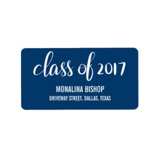 Modern Graduate Class Of 2017 Typography Navy Blue Label