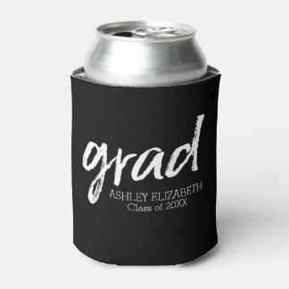 Modern Graduate Custom Trendy Black Grad Can Cooler