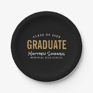 Modern Graduate Personalized Graduation Party Paper Plate