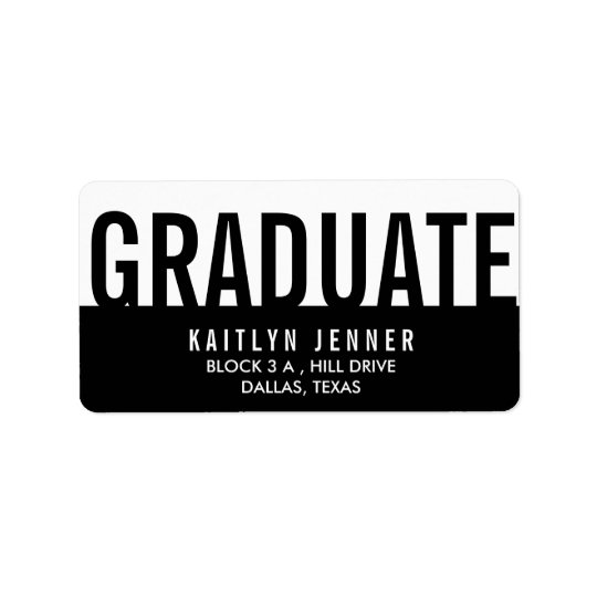 Modern Graduate Typography Black And White Chic Label