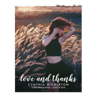 Modern Graduation Love And Thanks Typography Photo Postcard