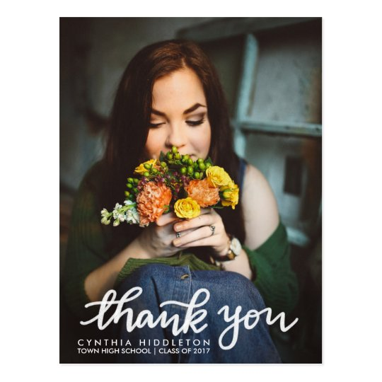 Modern Graduation Thank You Typography Photo Postcard