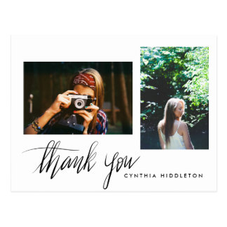 Modern Graduation Thank You Typography Two Photo Postcard