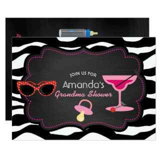 Modern Grandma Baby Shower Chalkboard Invitation