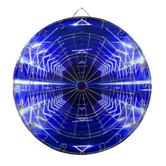 Modern Graphic Abstract Cool Glowing Vortex, Blue Dartboard