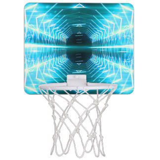 Modern Graphic Abstract Cool Glowing Vortex, Teal Mini Basketball Hoop