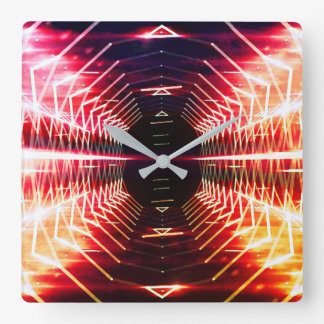 Modern Graphic Abstract Glowing Vortex, Inferno Square Wall Clock