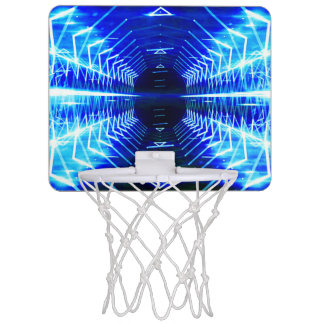 Modern Graphic Cool Glowing Vortex, Electric Blue Mini Basketball Hoop