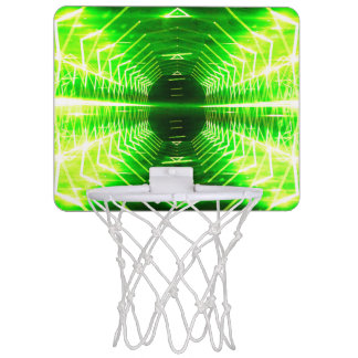 Modern Graphic Cool Glowing Vortex, Neon Green Mini Basketball Hoop