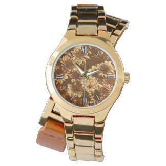 Modern Graphic Dahlia Pattern, Brown and Gold Wristwatch