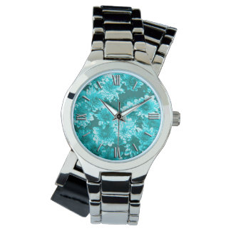 Modern Graphic Dahlia Pattern, Teal and Aqua Wrist Watch