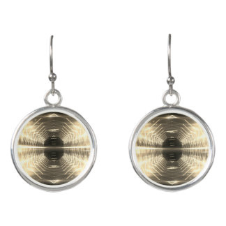 Modern Graphic Glowing Vortex, Sepia - Earrings