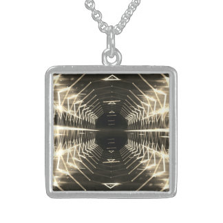 Modern Graphic Glowing Vortex, Sepia - Sterling Silver Necklace