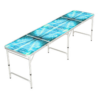 Modern Graphic Glowing Vortex, Teal - Beer Pong Table
