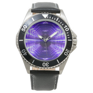 Modern Graphic Glowing Vortex, Violet - Watch