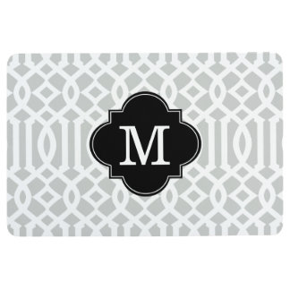 Modern Gray and Black Trellis Custom Monogram Floor Mat