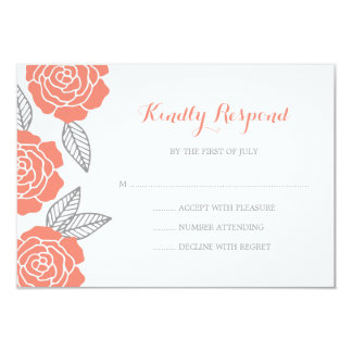 Modern Gray and Coral Rose Wedding RSVP 9 Cm X 13 Cm Invitation Card